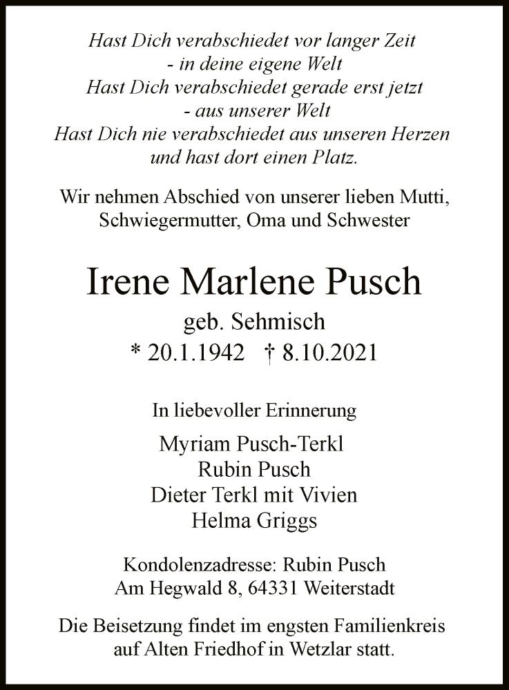 Traueranzeige für Irene Marlene Pusch vom 13.10.2021 aus OF