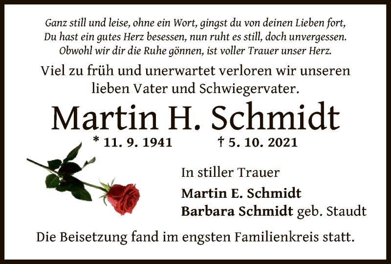Traueranzeige für Martin H. Schmidt vom 16.10.2021 aus OF