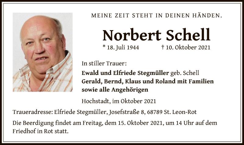 Traueranzeige für Norbert Schell vom 13.10.2021 aus OF