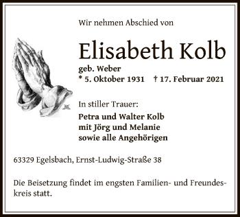 Traueranzeige von Elisabeth Kolb von OF