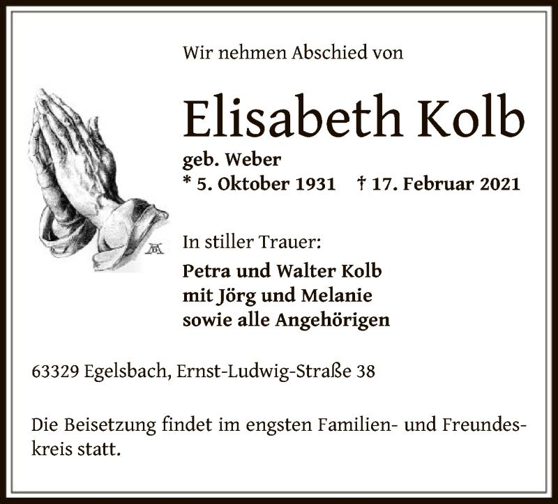 Traueranzeige für Elisabeth Kolb vom 20.02.2021 aus OF
