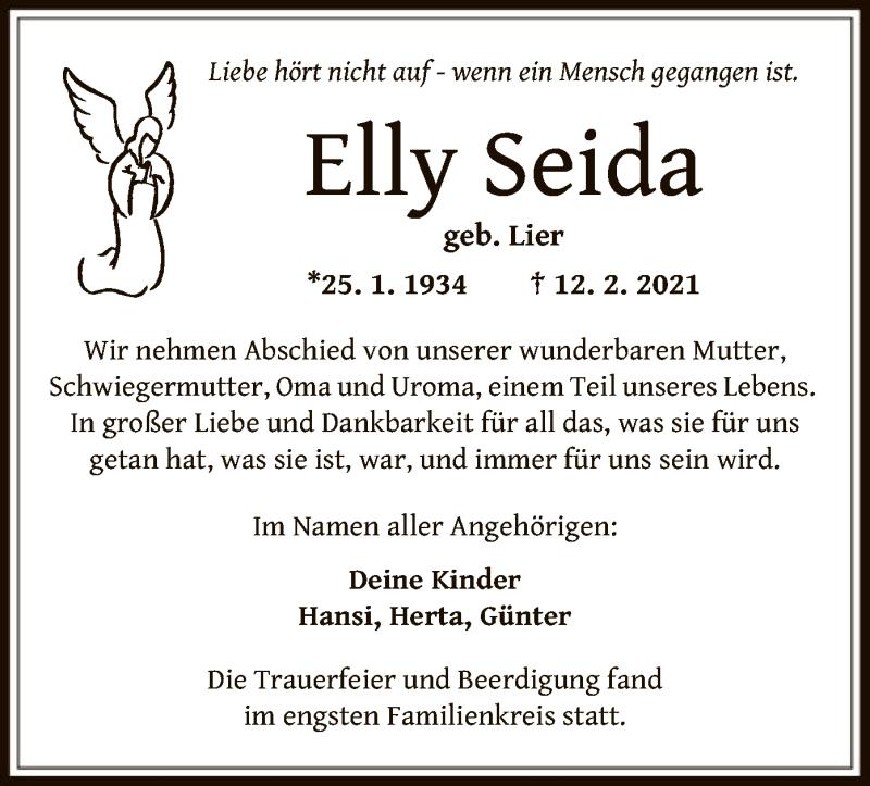 Traueranzeige für Elly Seida vom 23.02.2021 aus OF