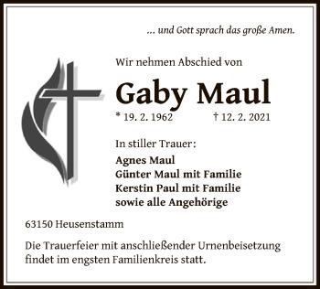 Traueranzeige von Gaby Maul von OF