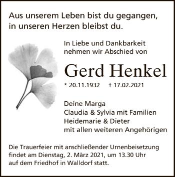 Traueranzeige von Gerd Henkel von OF