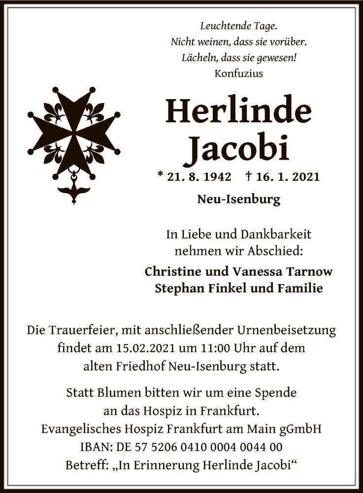 Traueranzeige für Herlinde Jacobi vom 06.02.2021 aus OF
