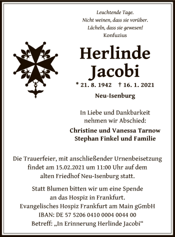 Traueranzeige von Herlinde Jacobi von OF