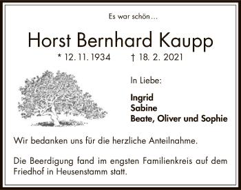 Traueranzeige von Horst Bernhard Kaupp von OF