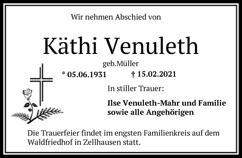Traueranzeige für Käthi Venuleth vom 20.02.2021 aus OF