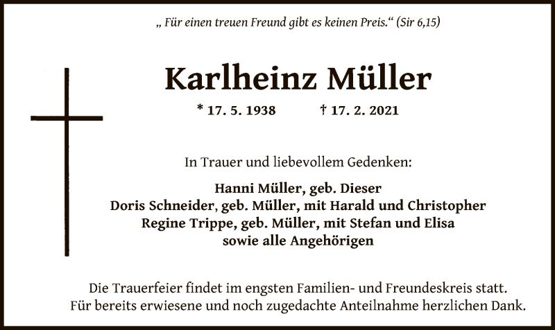 Traueranzeige für Karlheinz Müller vom 20.02.2021 aus OF