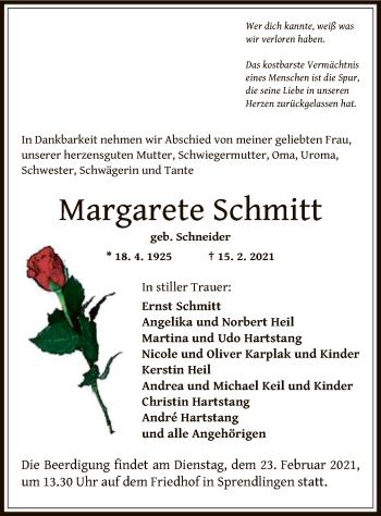 Traueranzeige von Margarete Schmitt von OF