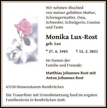 Traueranzeige von Monika Lux-Rost von OF