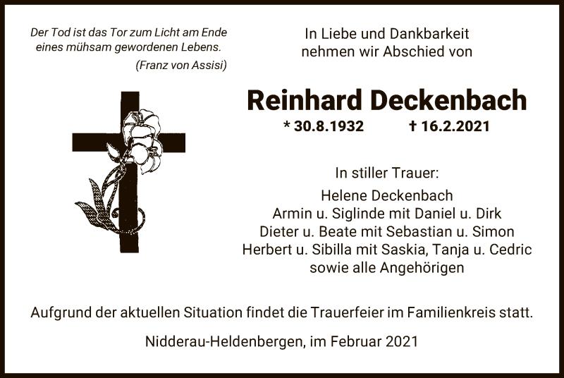 Traueranzeige für Reinhard Deckenbach vom 20.02.2021 aus OF