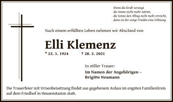 Traueranzeige von Elli Klemenz von OF