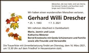 Traueranzeige von Gerhard Willi Drescher von OF