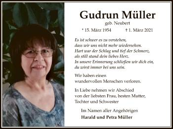 Traueranzeige von Gudrun Müller von OF