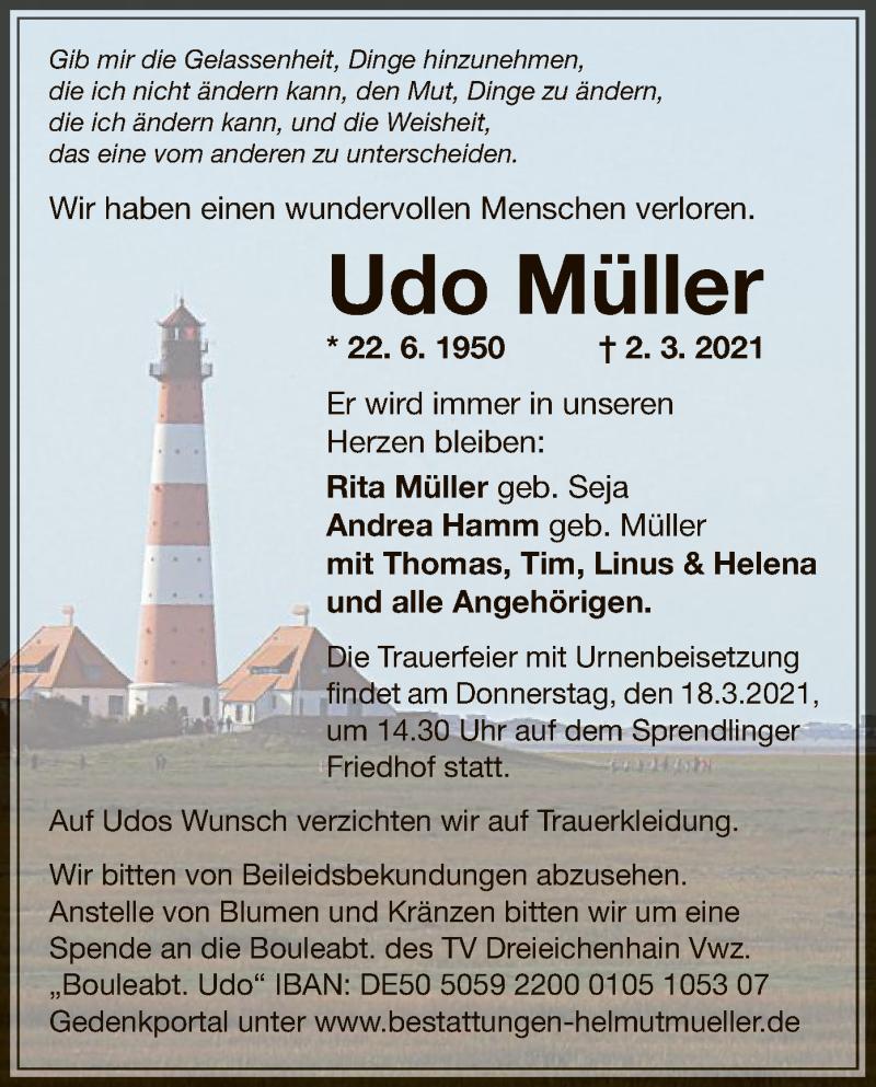 Traueranzeige für Udo Müller vom 13.03.2021 aus OF