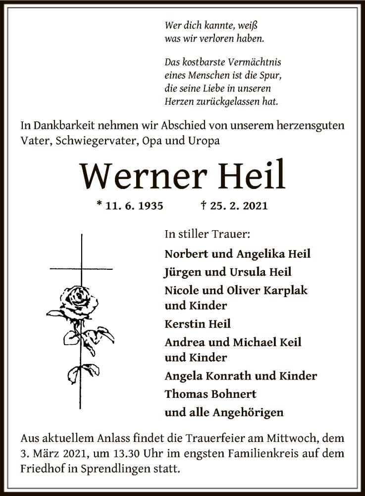 Traueranzeige für Werner Heil vom 02.03.2021 aus OF
