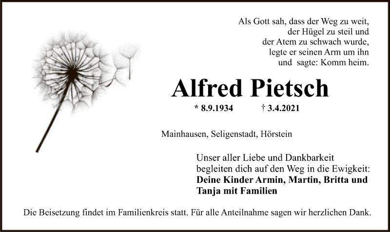 Traueranzeige für Alfred Pietsch vom 07.04.2021 aus OF