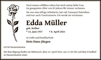 Traueranzeige von Edda Müller von OF