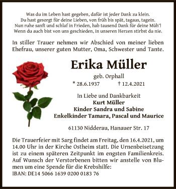 Traueranzeige von Erika Müller von OF