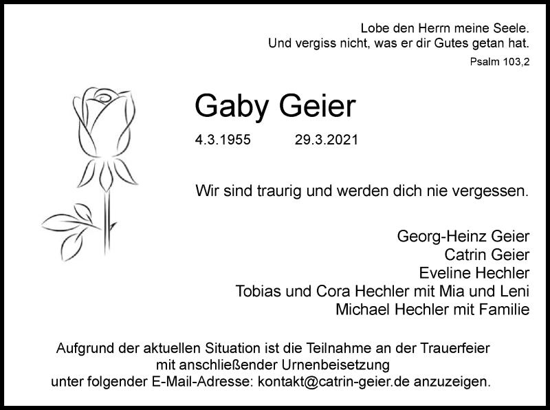 Traueranzeige für Gaby Geier vom 03.04.2021 aus OF