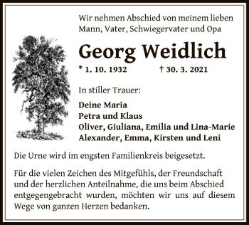 Traueranzeige von Georg Weidlich von OF
