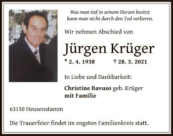 Traueranzeige von Jürgen Krüger von OF
