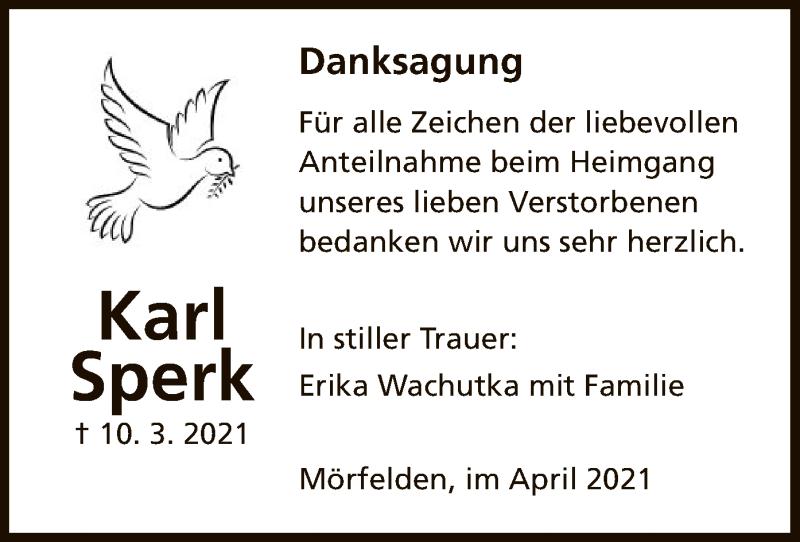 Traueranzeige für Karl Sperk vom 08.04.2021 aus OF