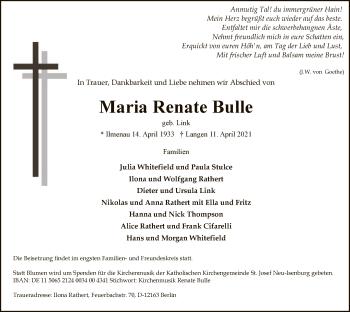 Traueranzeige von Maria Renate Bulle von OF