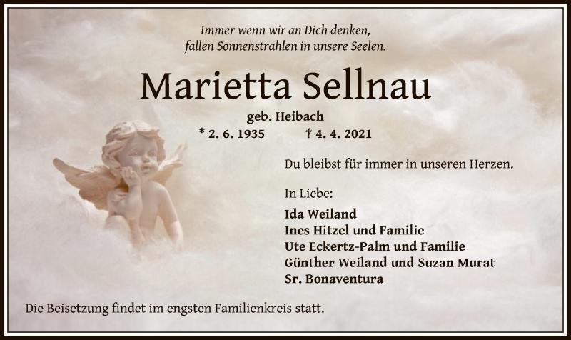 Traueranzeige für Marietta Sellnau vom 07.04.2021 aus OF