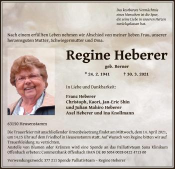 Traueranzeige von Regine Heberer von OF
