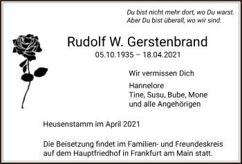 Traueranzeige von Rudolf W. Gerstenbrand von OF