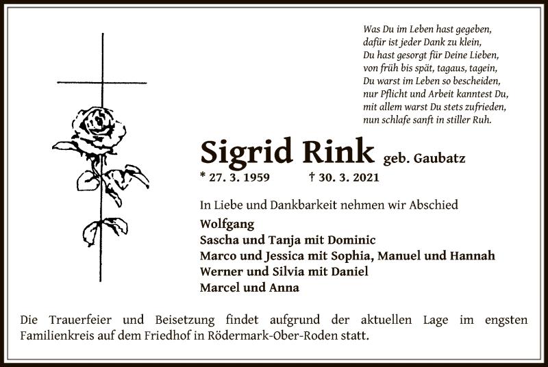 Traueranzeige für Sigrid Rink vom 03.04.2021 aus OF