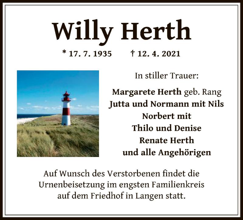 Traueranzeige für Willy Herth vom 17.04.2021 aus OF
