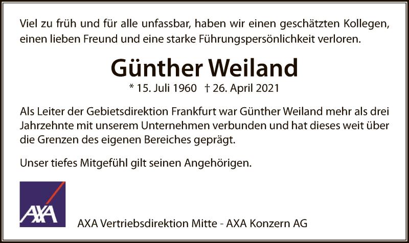 Traueranzeige für Günther Weiland vom 08.05.2021 aus OF