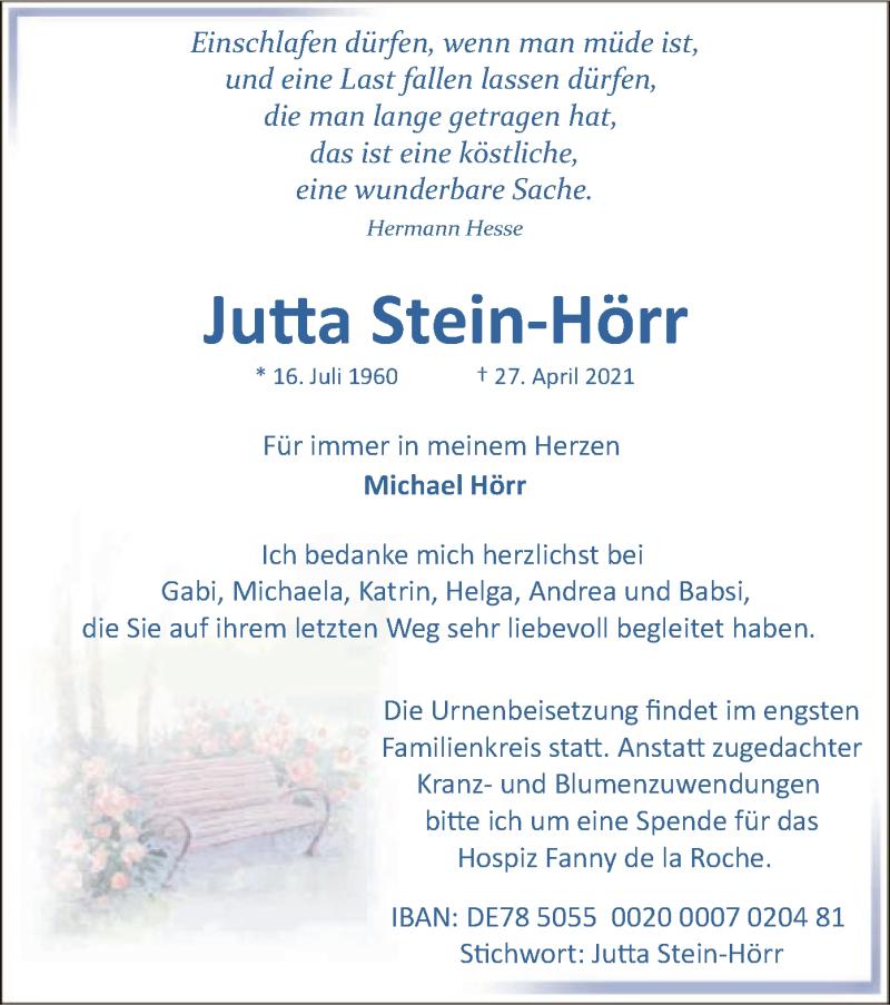 Traueranzeige für Jutta Stein-Hörr vom 03.05.2021 aus OF