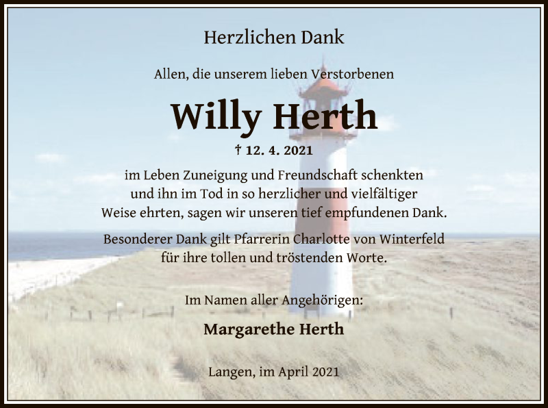 Traueranzeige für Willy Herth vom 08.05.2021 aus OF