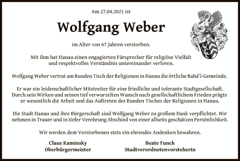Traueranzeige für Wolfgang Weber vom 04.05.2021 aus OF