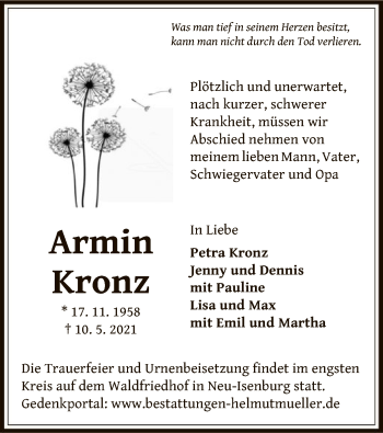 Traueranzeige von Armin Kronz von OF