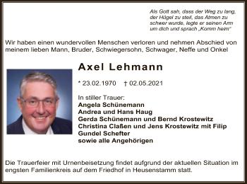 Traueranzeige von Axel Lehmann von OF