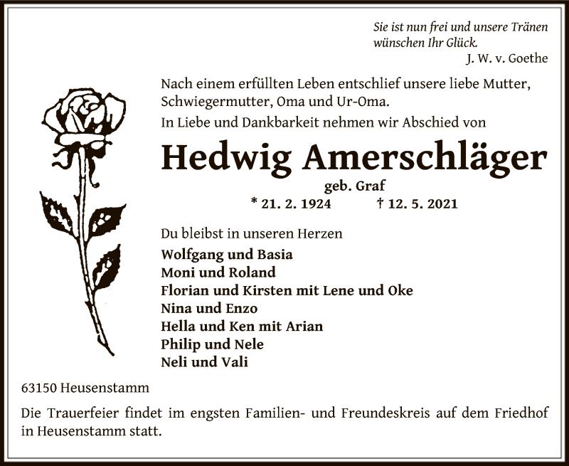 Traueranzeige für Hedwig Amerschläger vom 19.05.2021 aus OF
