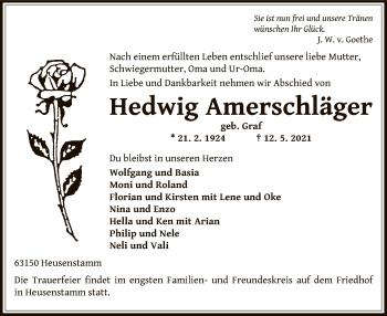 Traueranzeige von Hedwig Amerschläger von OF