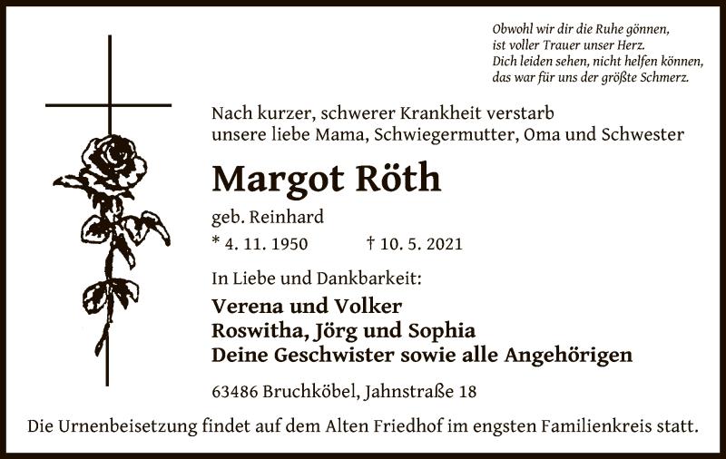 Traueranzeige für Margot Röth vom 15.05.2021 aus OF