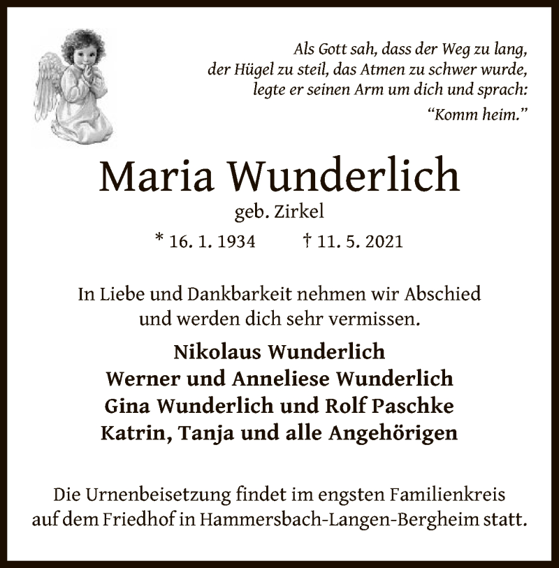 Traueranzeige für Maria Wunderlich vom 15.05.2021 aus OF