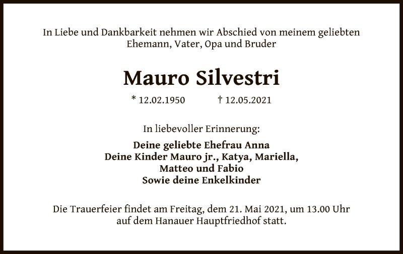Traueranzeige für Mauro Silvestri vom 15.05.2021 aus OF