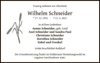 Traueranzeige von Wilhelm Schneider von OF