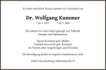 Traueranzeige von Wolfgang Kummer von OF