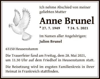 Traueranzeige von Anne Brunel von OF