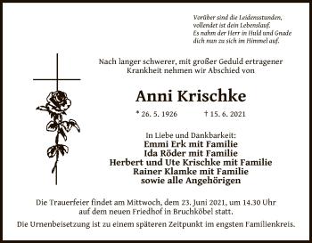 Traueranzeige von Anni Krischke von OF