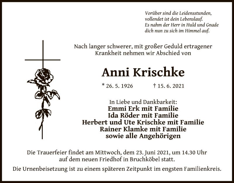 Traueranzeige für Anni Krischke vom 19.06.2021 aus OF